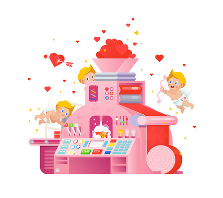 Vector cupids workplace on love gift factory.