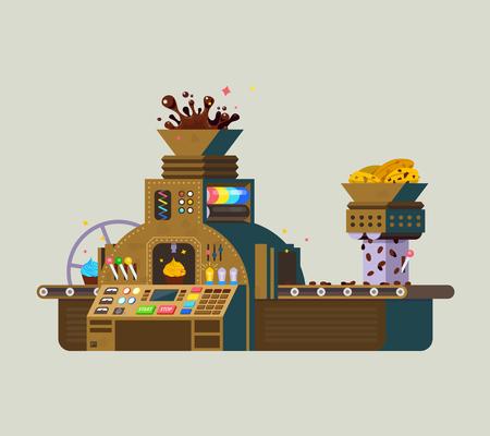 El chocolate del vector de fábrica iilustration. Impresión de la preparación de alimentos de chocolate creativo, a partir de las semillas de cacao. Vectores