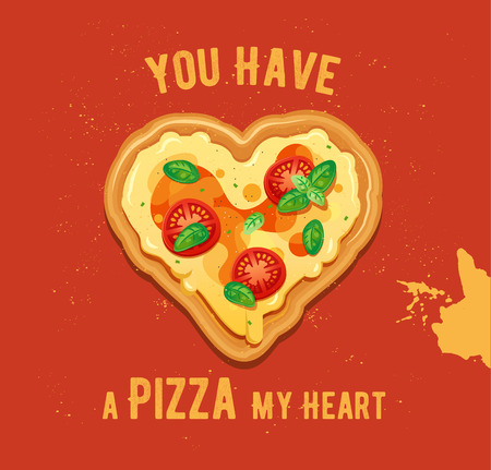 margherita: Vector fun Valentine Day card You have a Pizza my heart. Classic Pizza Margherita Illustration