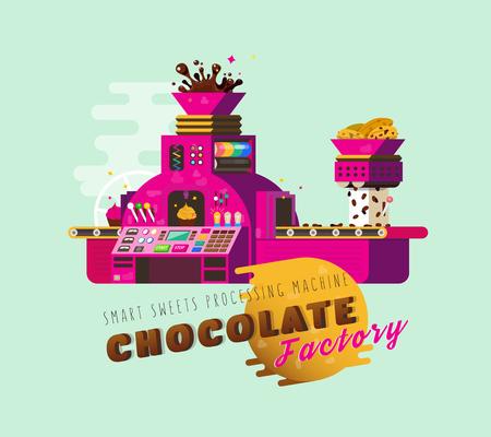 Ilustración del vector de la fábrica del chocolate de la historieta.
