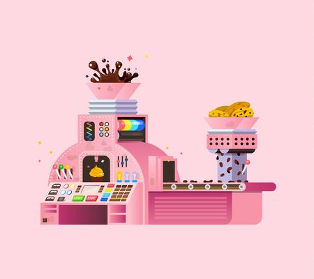 Pink Chocolate Factory illustration. Vetores
