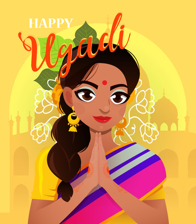 Happy Ugadi. Template greeting card for holiday. Character positive Indian girl in greeting pose namaste.