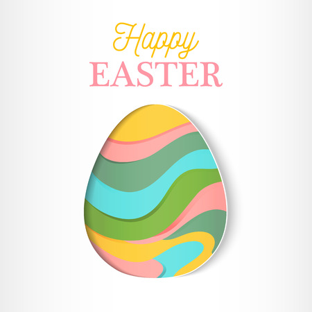 russian pattern: Happy Easter greeting card in paper cut style. Chicken Abstract geometric ornamented easter egg.