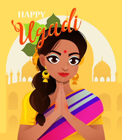 Happy Ugadi. Greeting card for holiday. Character positive Indian girl in greeting pose namaste. Иллюстрация