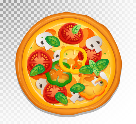 Vector Classic Pizza illustration with cheese, tomatoes and basil leaves ingredients.
