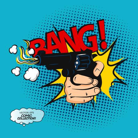 Pop art comic bubbles design. Bang vector illustration. Lettering of comic effect speech phrase print.