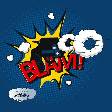 T-shirt Blam lettering. Comic effect bubbles design in pop art style. Vector illustration.