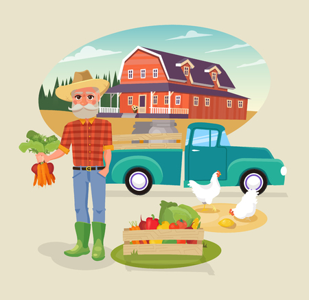 Icon Set of farm element. Cartoon Farming infographic elements. Farmer and Farm organic products.