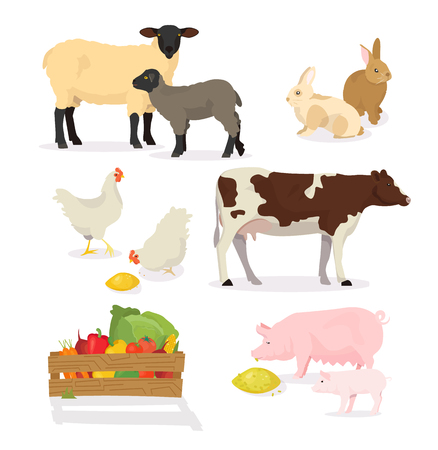 Decorative  Farmer animals set in cartoon style. Vector illustration of pig, cow, rabbit, sheep, chicken, lamb. Countryside, rural cattle, poultry. Illustration