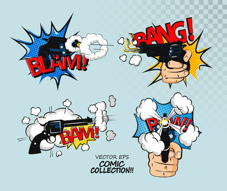 halftone cover: Collection of multicolored comic sound Effects.Comic bubbles design in pop art style. T-shirt Illustration