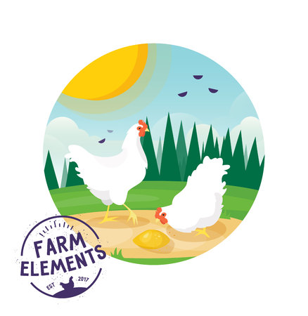 glade: Farm cartoon chicken vector illustration. Farmer Eco label design