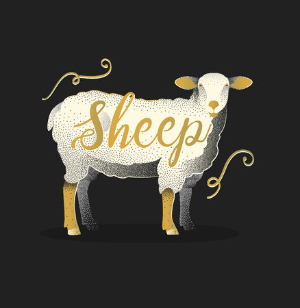 Sheep. Hand drawn lettering card design. Pointilism graphic style.