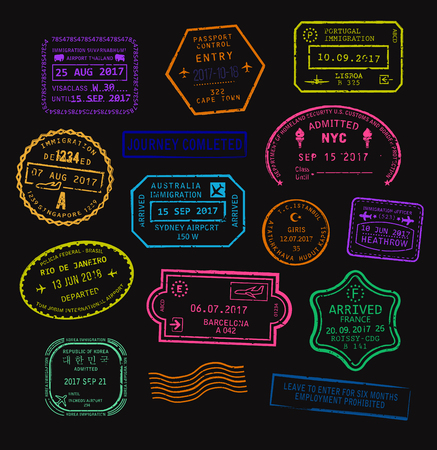 Vector set of colorful passport visa stamps in neon color. 版權商用圖片 - 79459368