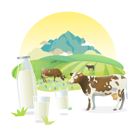 Vector milk lable illustration with cows graze on alpine meadows, on mountain landscape background. Illustration