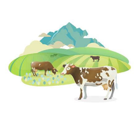 Vector sticker illustration. Rural pasture landscape with happy cows graze on alpine meadows, on mountain landscape Illustration