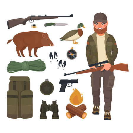 Hunting icons set, hunter with rifle in cartoon style. Ammunition of professional hunter. Stock Photo