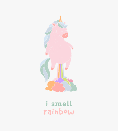 farting: I smell like unicorn typography greeting card. Funny vector illustration flying unicorn farting rainbow. Illustration