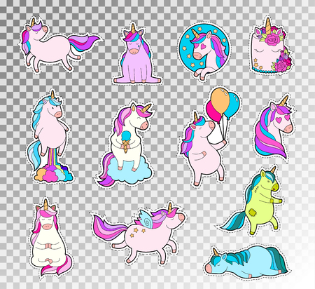 Colored doodle set of cute unicorn. Vector sketch illustration of unicorn emotions sticker.