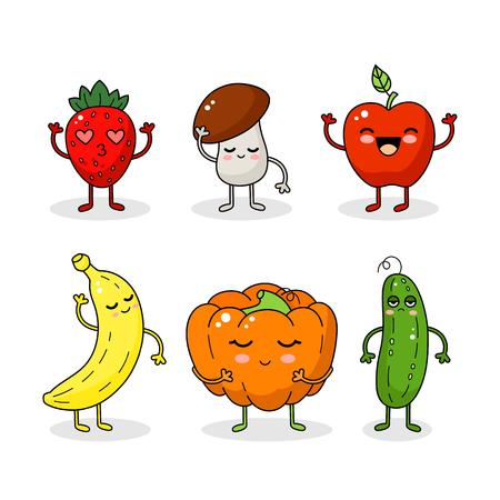 Dibujos animados divertidos vegetales y frutas personajes. Happy vegetable sticker gran colección.