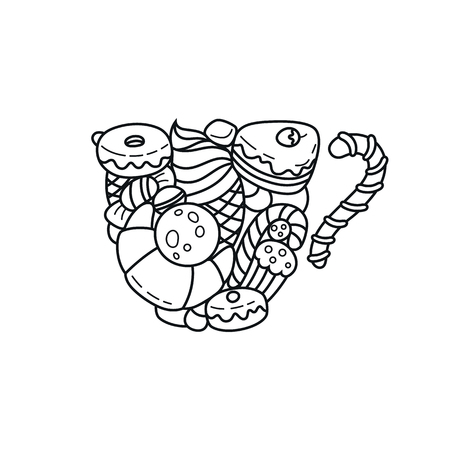 Vector coloring book adult illustration, meditation and relax. Black and white cake and bakery isolated image.