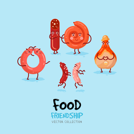 Funny card with sausages friendship . Vector cartoon. talian salami and sausages, pork knuckle, prosciutto. Illustration