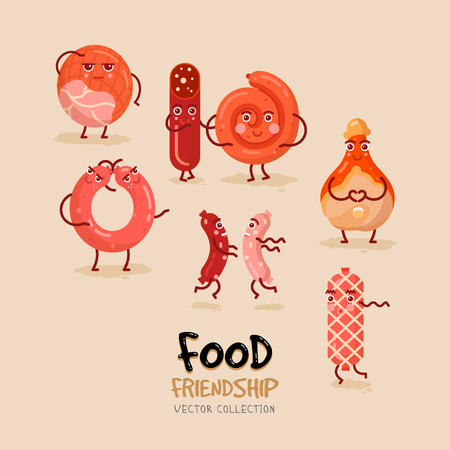 Concept poster with meat products. Friendly meat characters.