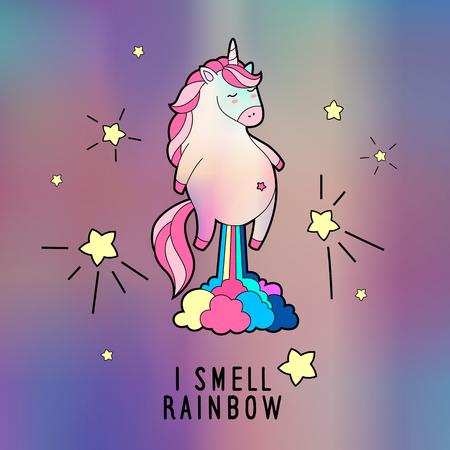 Magic farting unicorn illustration. Northern lights print. Vectores