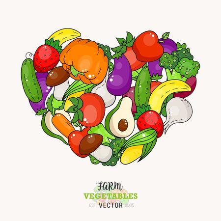 Cartoon vegetable and fruit heart cover. Market food sticker. Broccoli, pumpkin, eggplant. Banana, apple.