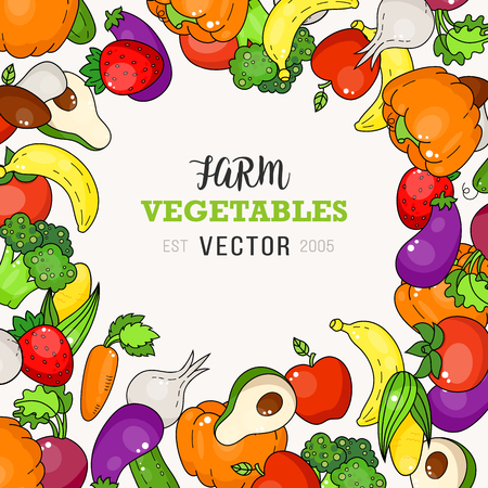 Fresh farm vegetable doodle illustration. Food carrot, tomato and broccoli, mushrooms, beets and avocado.