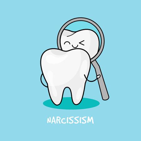 Dental personage vector illustration. Illustration for children dentistry. Oral hygiene, teeth cleaning.