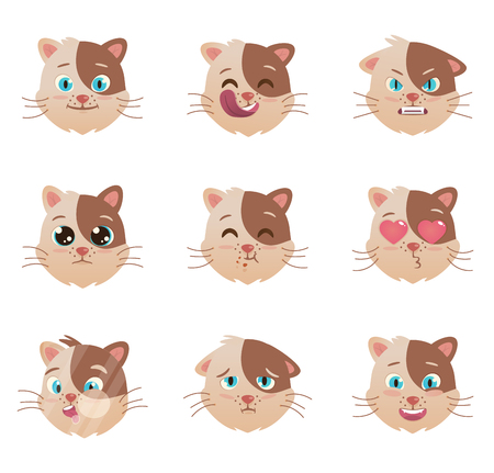 Cute head  of cats different emoticons. Domestic Pet kitten icon 矢量图像