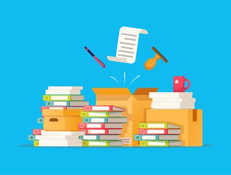 Burocrazia delle scatole di cartone, scartoffie, illustrazione di vettore dell'ufficio nello stile piano.