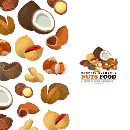 Nuts label, banner, product card cover. Nut food of cashew, walnut, nutmeg and other. Coconut.