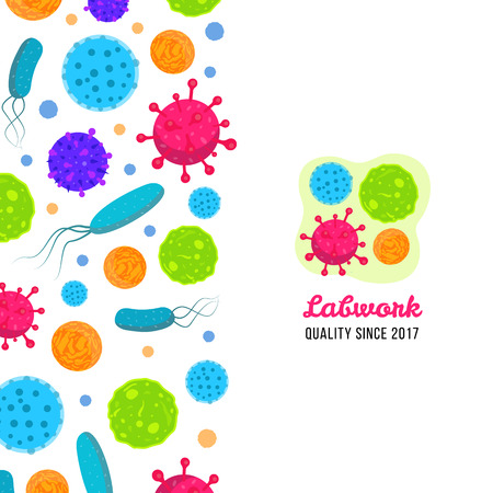 Vector biology icons print. Illustration of bacteria and microbe organism allergen.