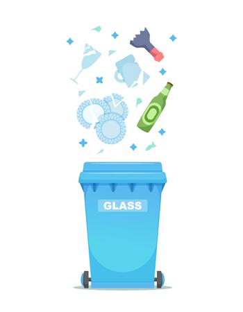 La industria de clasificación y procesamiento de basura utiliza la ilustración de vector de basura. Reciclaje de basura de vidrio ilustración.