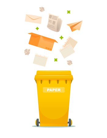 Sorting and processing garbage industry utilize waste can vector illustration. Recycling paper garbage illustration.