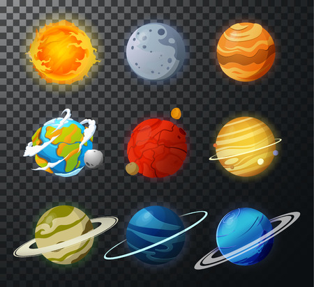Space planets, asteroid, moon, fantastic cosmic illustration. Education solar planets illustration like mars, sun and earth.