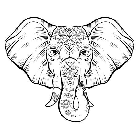 Elephant with ornate lotus mandal. Ethnic elephant background, tattoo art, yoga. Happy Holi traditional indian festival illustration.