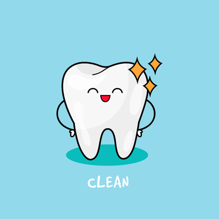 Clean Tooth shinning. Dental personage vector illustration. Stock Illustratie
