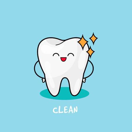 Clean Tooth shinning. Dental personage vector illustration. Illustration