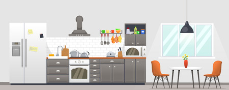 Kitchen interior with furniture. Dining area in the house, kitchen utensils.