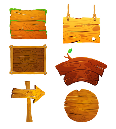 Wooden signboards or wood plank for banners or messages hanging on ropes. Stock Illustratie