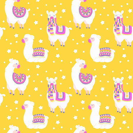 Seamless pattern with llama, star elements. Vector baby animal illustration.