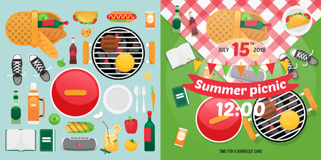 Constructor design for picnic card with barbecue vector elements. Picnic clipart items. Summer family picnic invitation card. Vectores