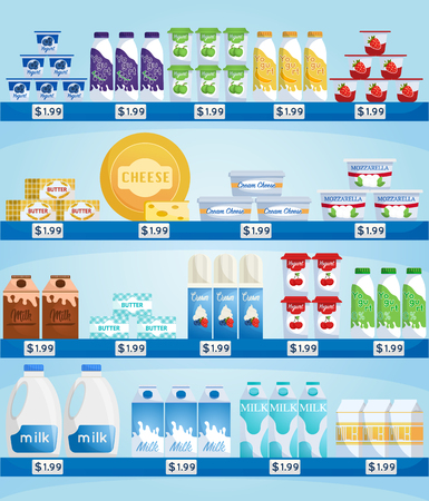 Store counter with dairy products. Milk and yogurt, cheese at supermarket showcase. Supermarket store interior with goods.