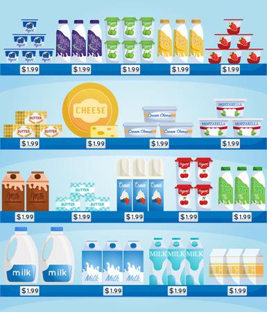 Sklep z produktami mlecznymi. Mleko i jogurt, ser w gablocie w supermarkecie. Supermarket wnętrze sklepu z towarami.