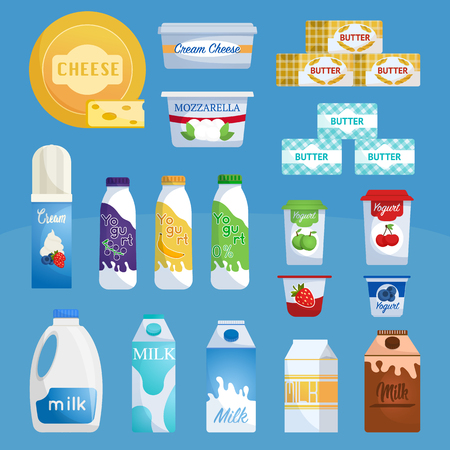 Dairy products. Milk and yogurt, cheese supermarket range. Supermarket milk products. Assortment dairy food and drinks.