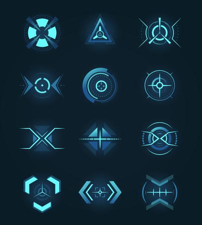 Icône Hud pour réticule, signe de précision pour l'emplacement de l'interface utilisateur ou du radar. Visée et militaire, fusil et arme à feu Vecteurs
