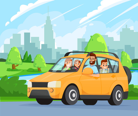 A trip to the countryside. Vector flat style illustration. Travelling by car.