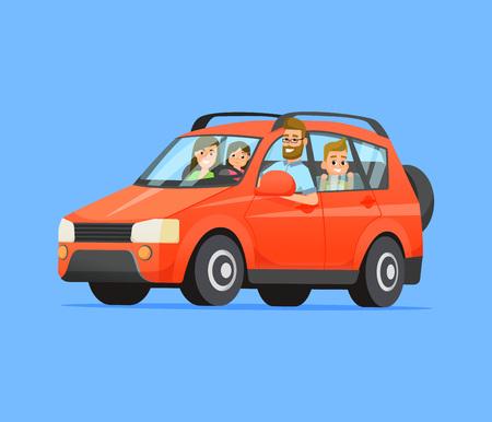 Voyage en famille sur une voiture rouge. Illustration de style plat de vecteur.